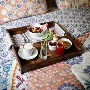 With 4 inch handles, these trays are easy to use as a caddy for anything around the house, even a nice breakfast in bed