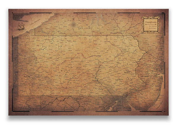 Pennsylvania Push pin travel map golden aged