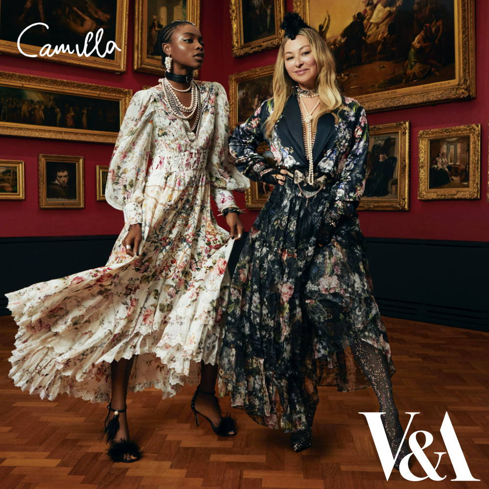 Camilla Franks in black floral skirt and jacket, Model in cream floral dress