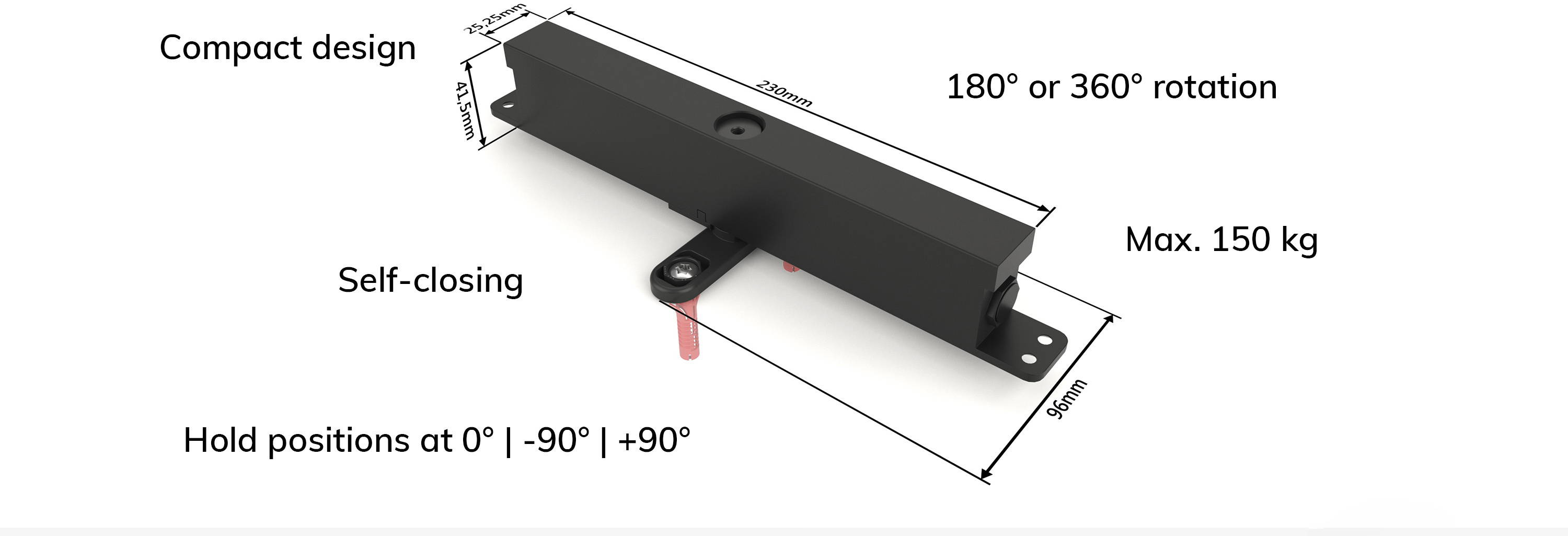 Self-closing pivot hinge for internal pivot doors