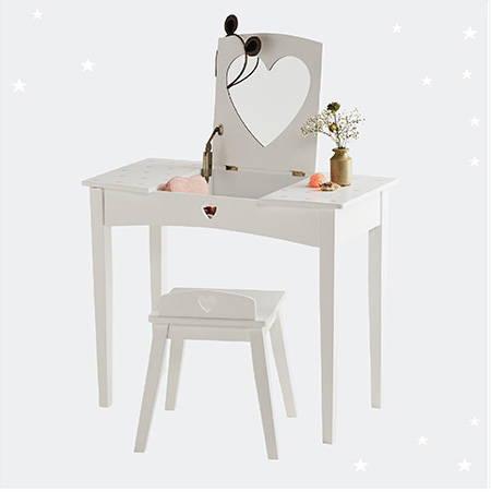 white kids' dressing table & stool
