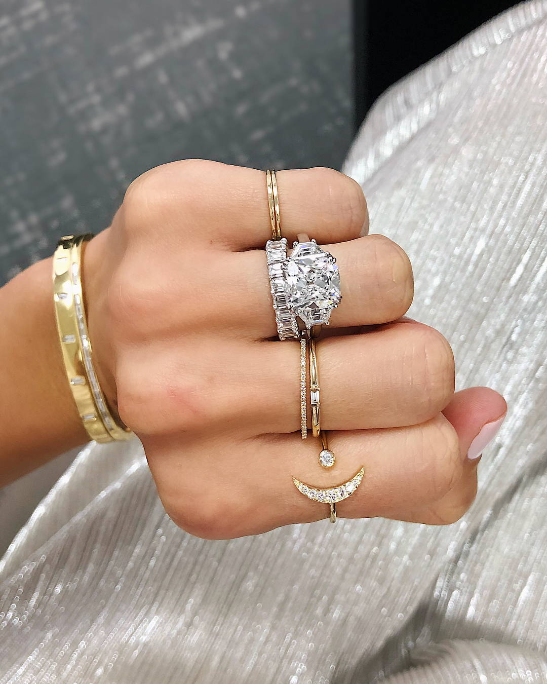 Baguette silver ring silver women/'s ring diamond model ring single stone ring three stone ring marriage ring marriage proposal ring