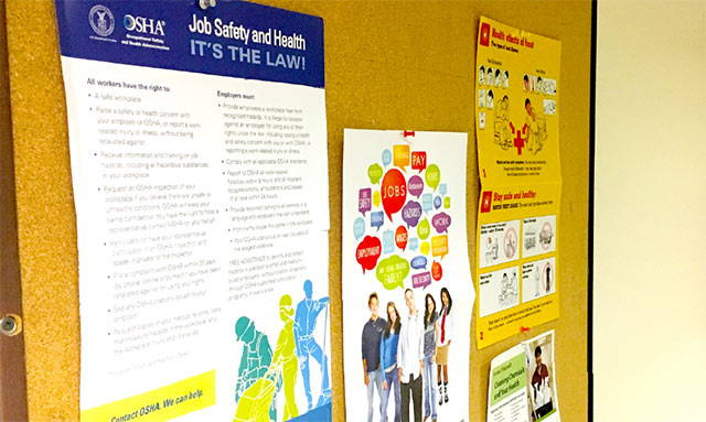 Employee Bulletin Board For OSHA Information
