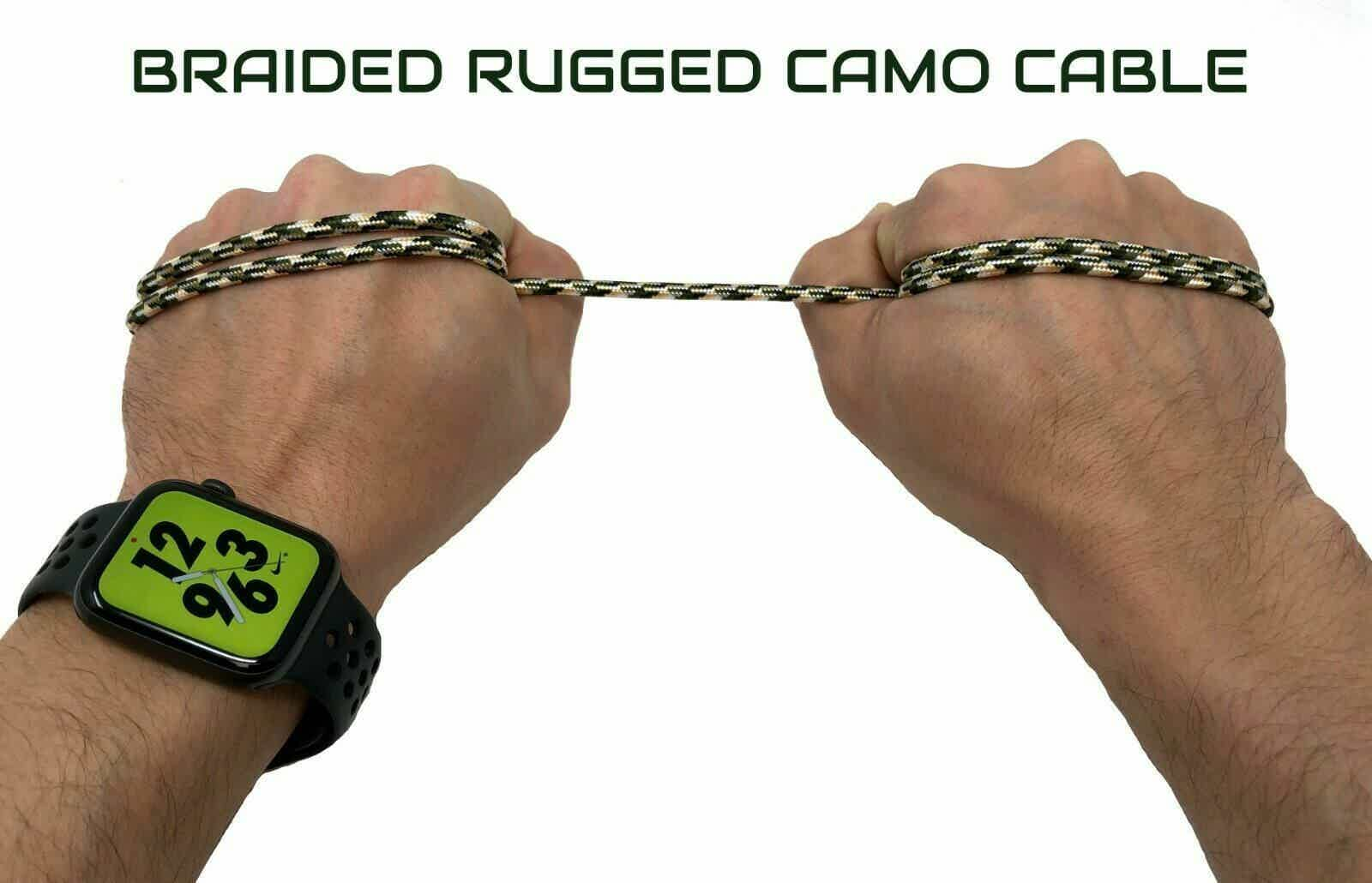 10ft Camo 90 degree Cable USB C Charger for CAT