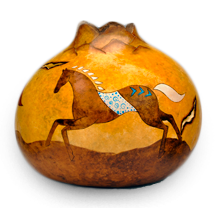 Southwest Horse Gourd Art by Christy Barajas