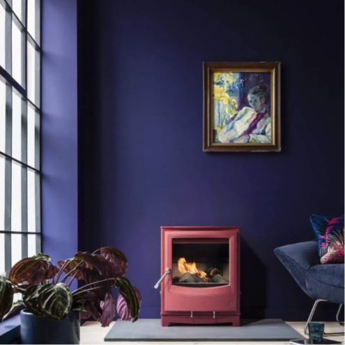 coral stove in a plum room