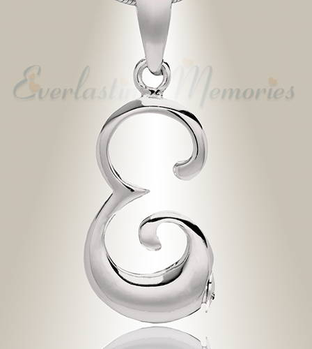 Sterling Silver E Initial Cremation Jewelry