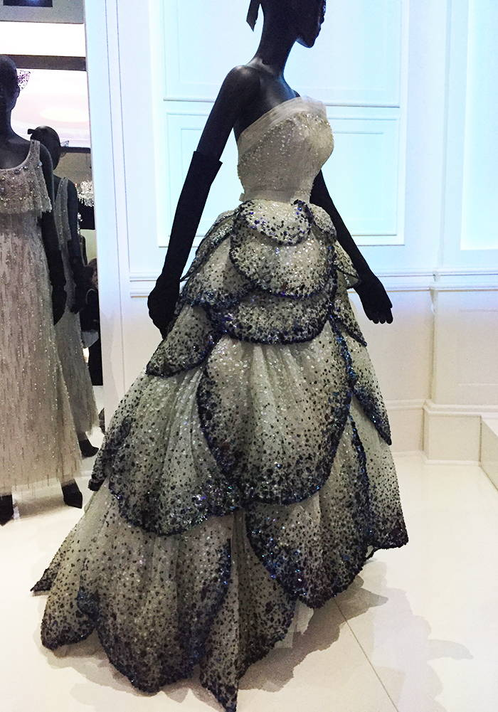 Crystal embellished petal evening dress by Christian Dior