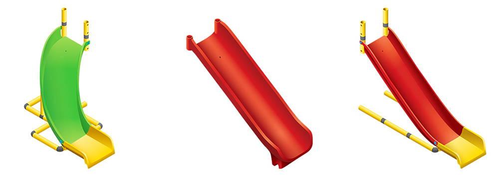 gebogen glijbaan / glijbaan uit één stuk / modulaire glijbaan