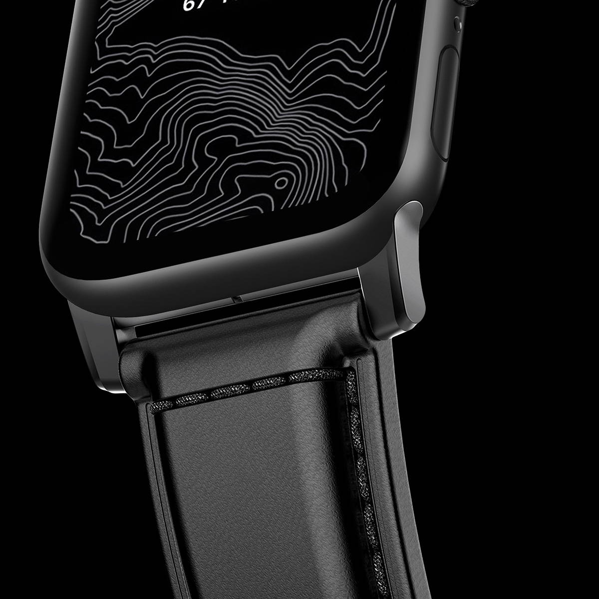 closeup of Shell Cordovan Strap attached to Apple Watch