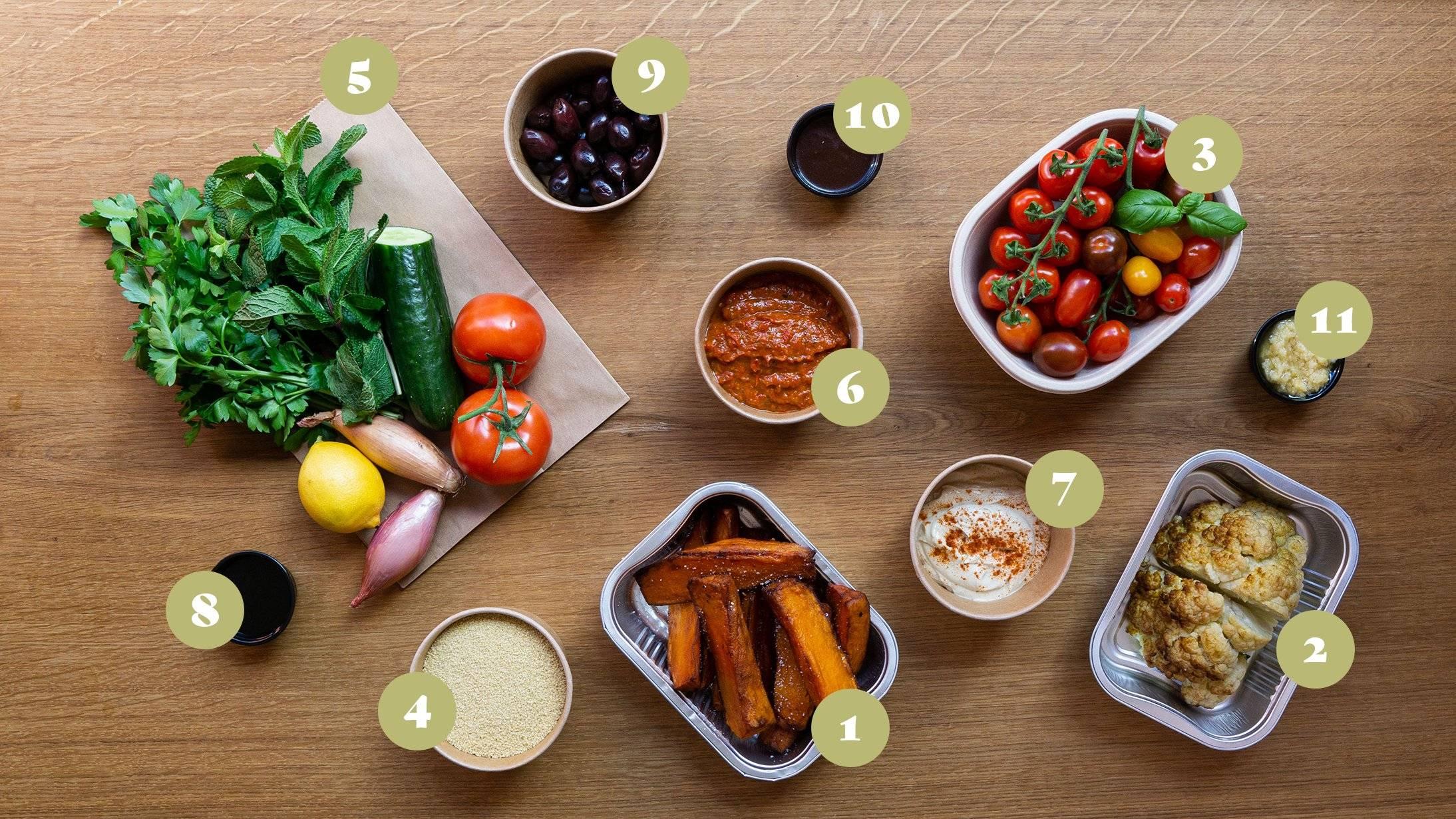 Opskrift og vejledning til Middelhavs Mezze med bl.a. sød kartoffel fritter, roasted cauliflower  med tahini, tomatsalat med Kalamata oliven og tabouleh salat.