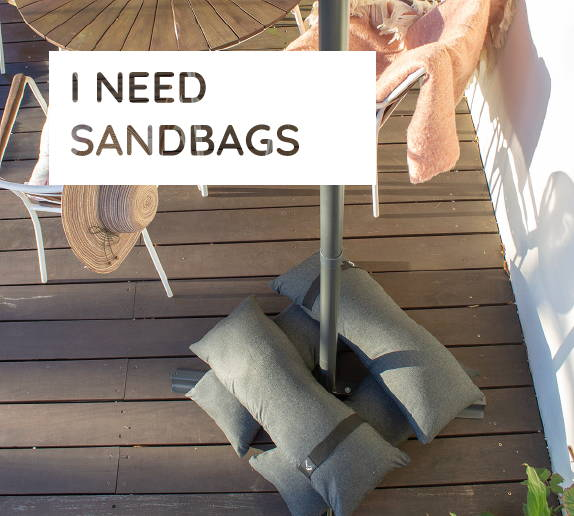 Baser sandbags as extra weight for cantilever parasol