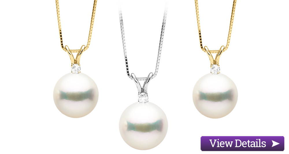 Akoya Pearl Jewelry Styles: Pearl and Diamond Pendants