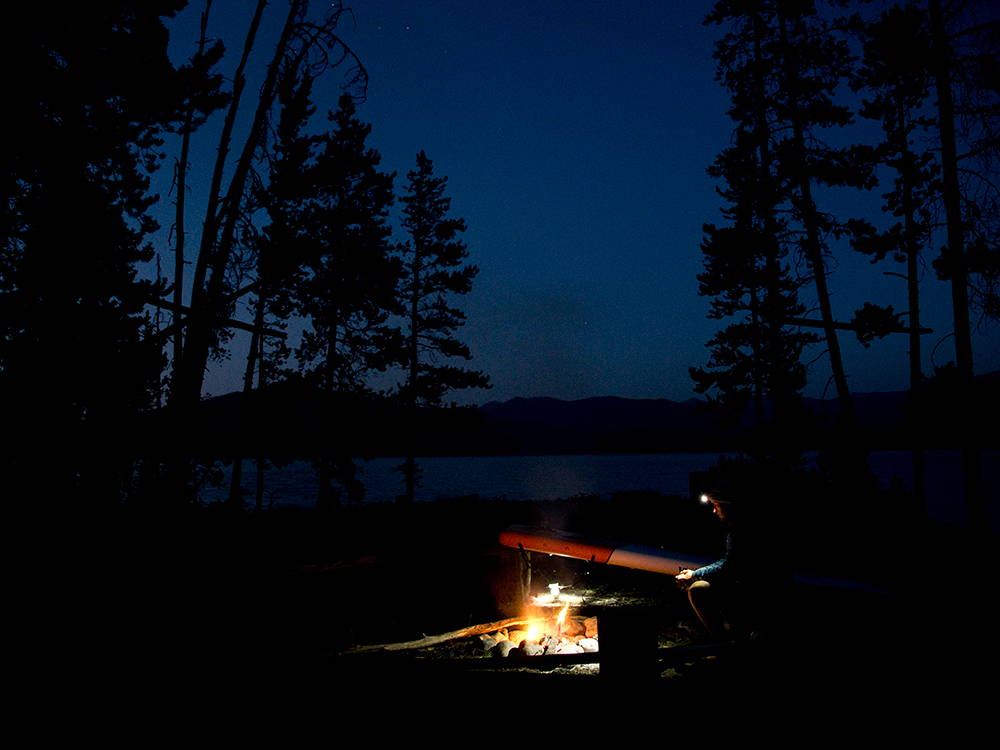 fire at camp at night