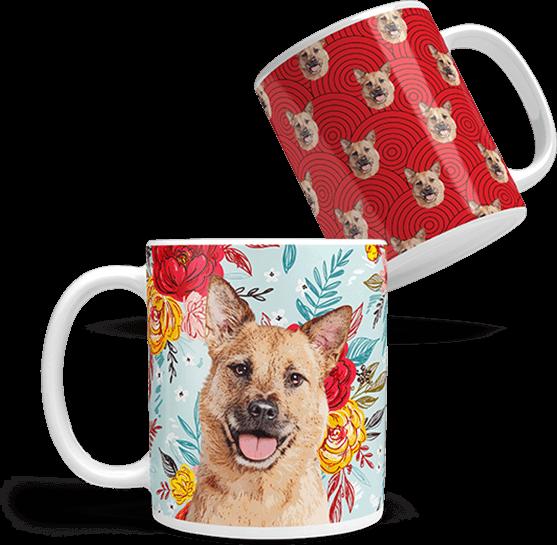 mutt on a custom coffee mug