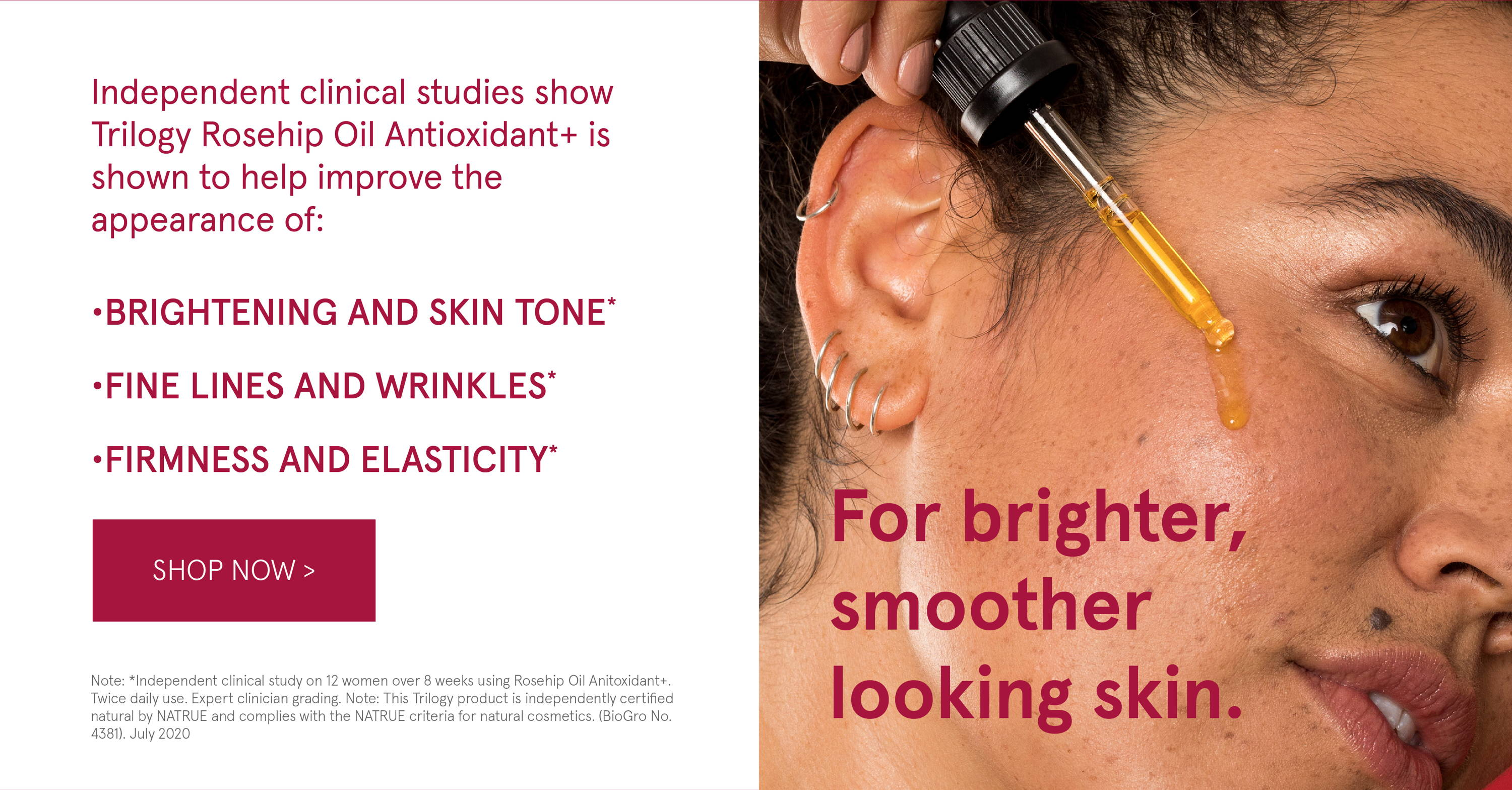 Brighten, firm and tone with Rosehip Antioxidant +