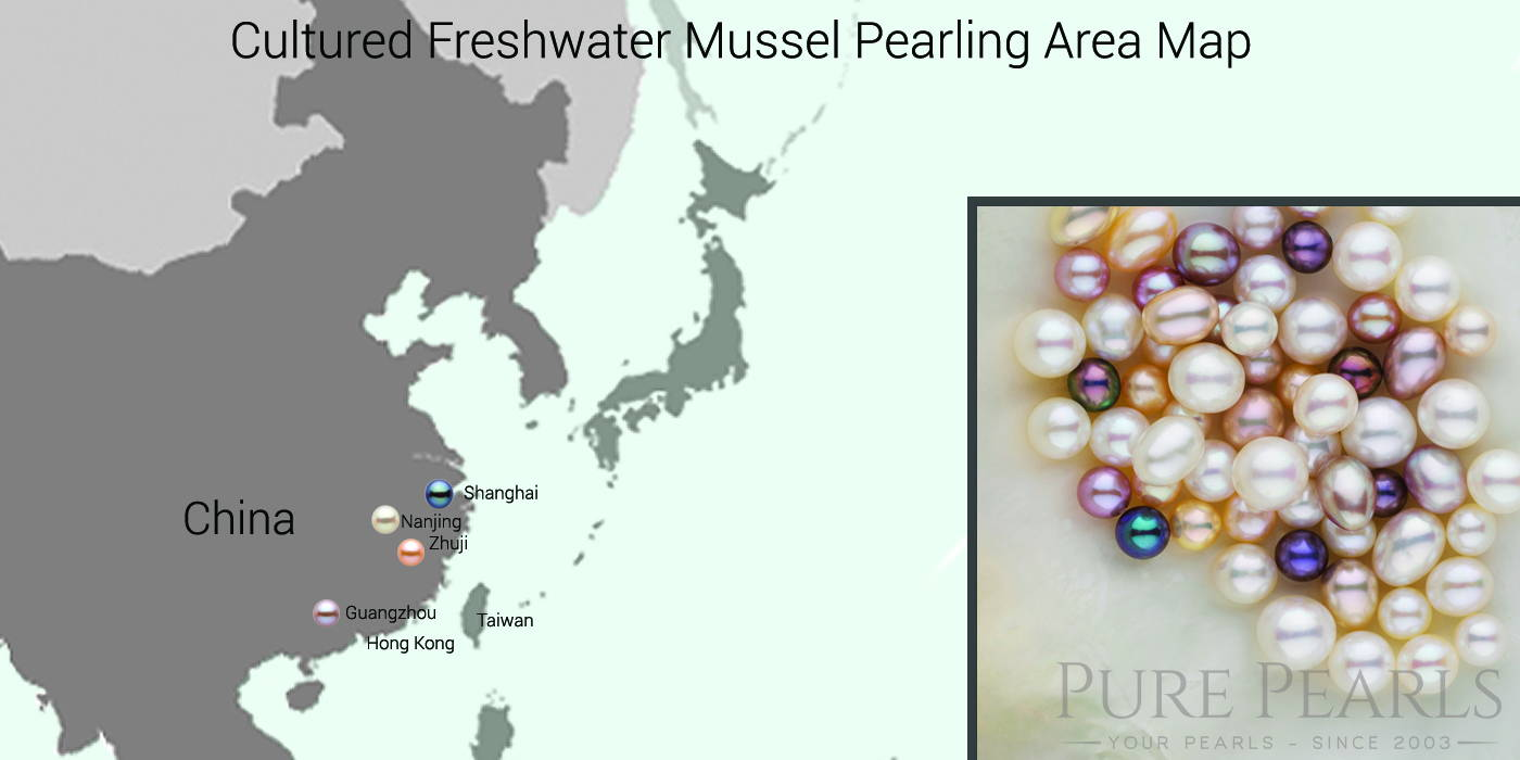 Major Freshwater Pearl Farming Areas Map