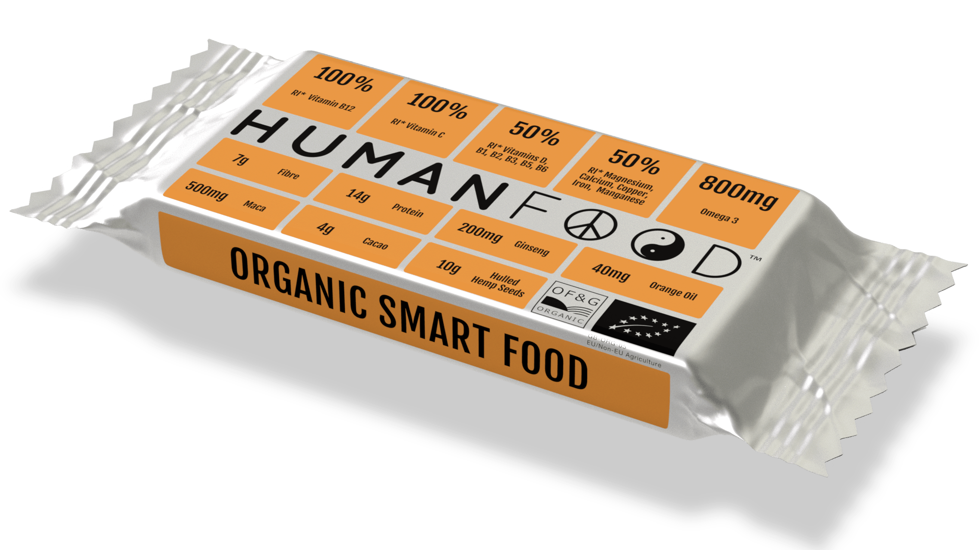 Orange and Acerola Human Food Bar in compostable wrapper