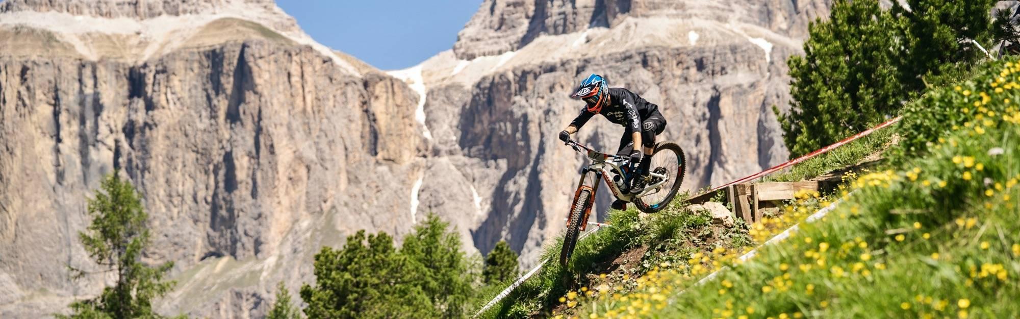 Downhill riding on Orbea mountain bikes.