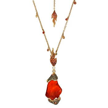 Flame themed gem necklace