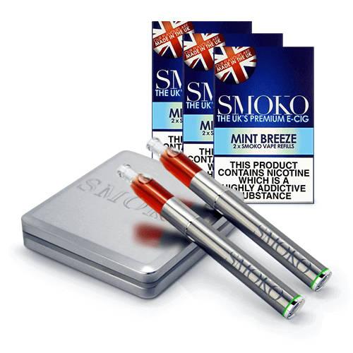 SMOKO Kit de démarrage VAPE + packs de recharges 3 + batterie vape supplémentaire