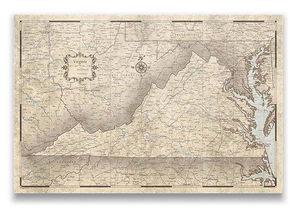 Virginia Push pin travel map rustic vintage
