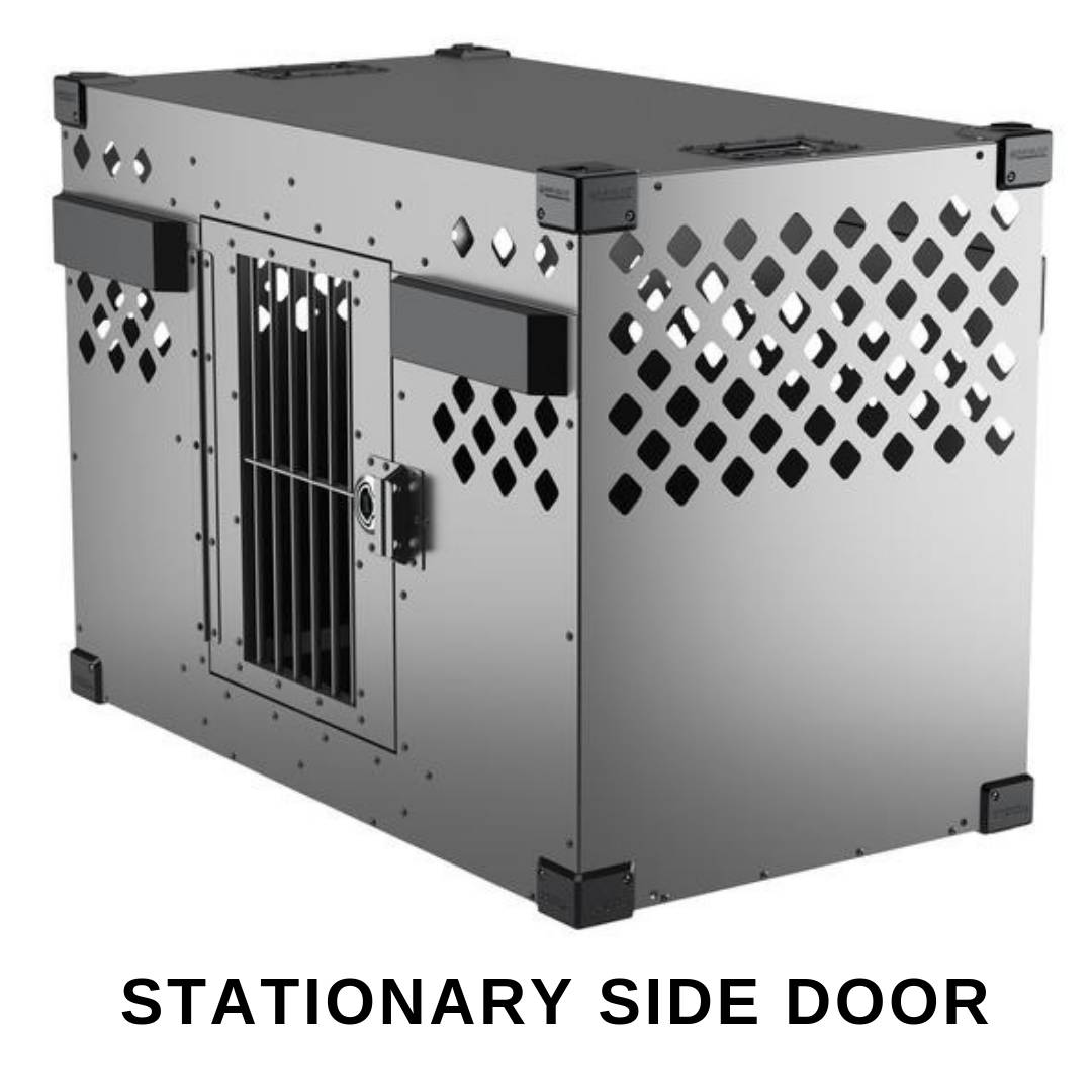 gray stationary side door impact dog crate