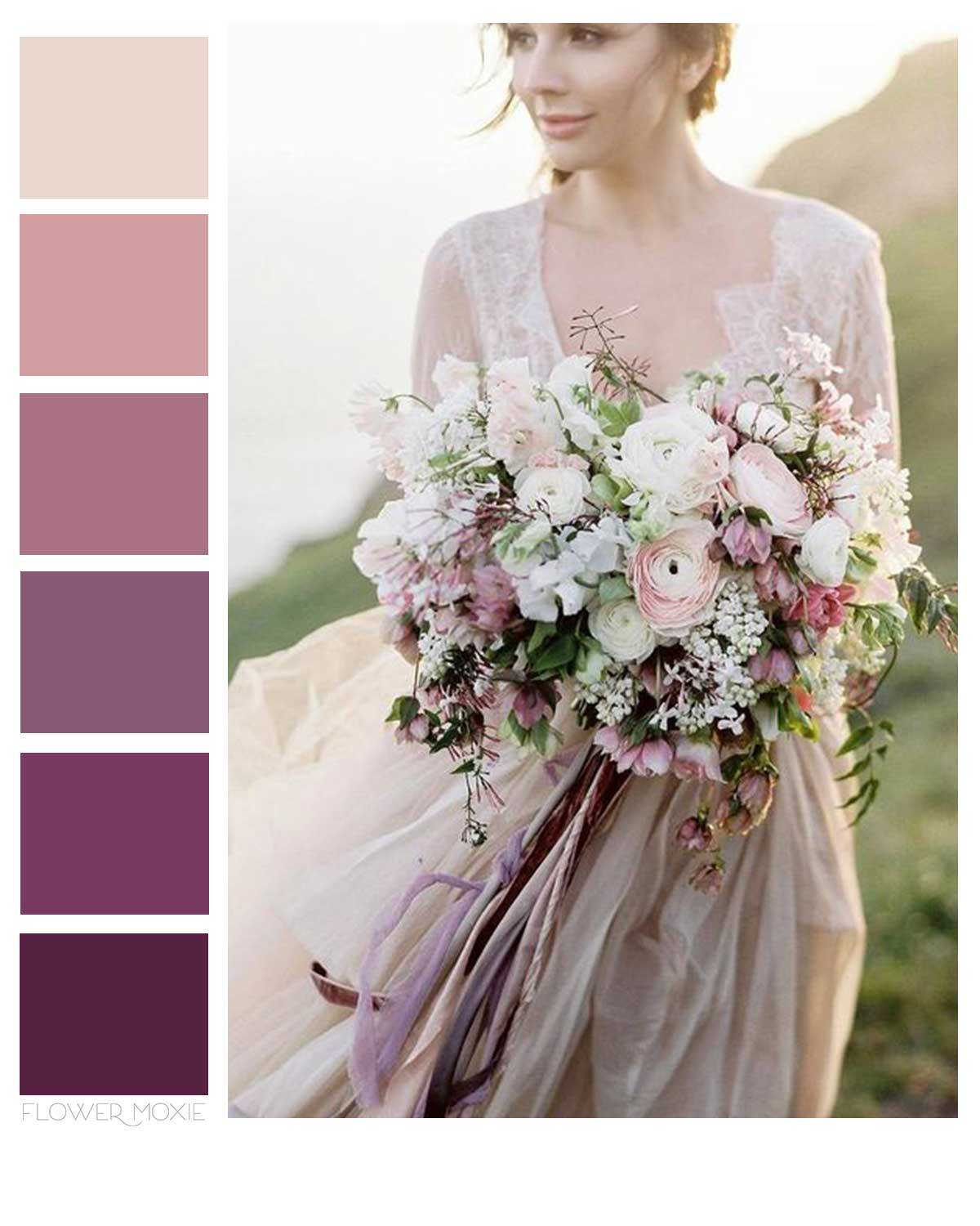 mauve and plum wedding flower packages