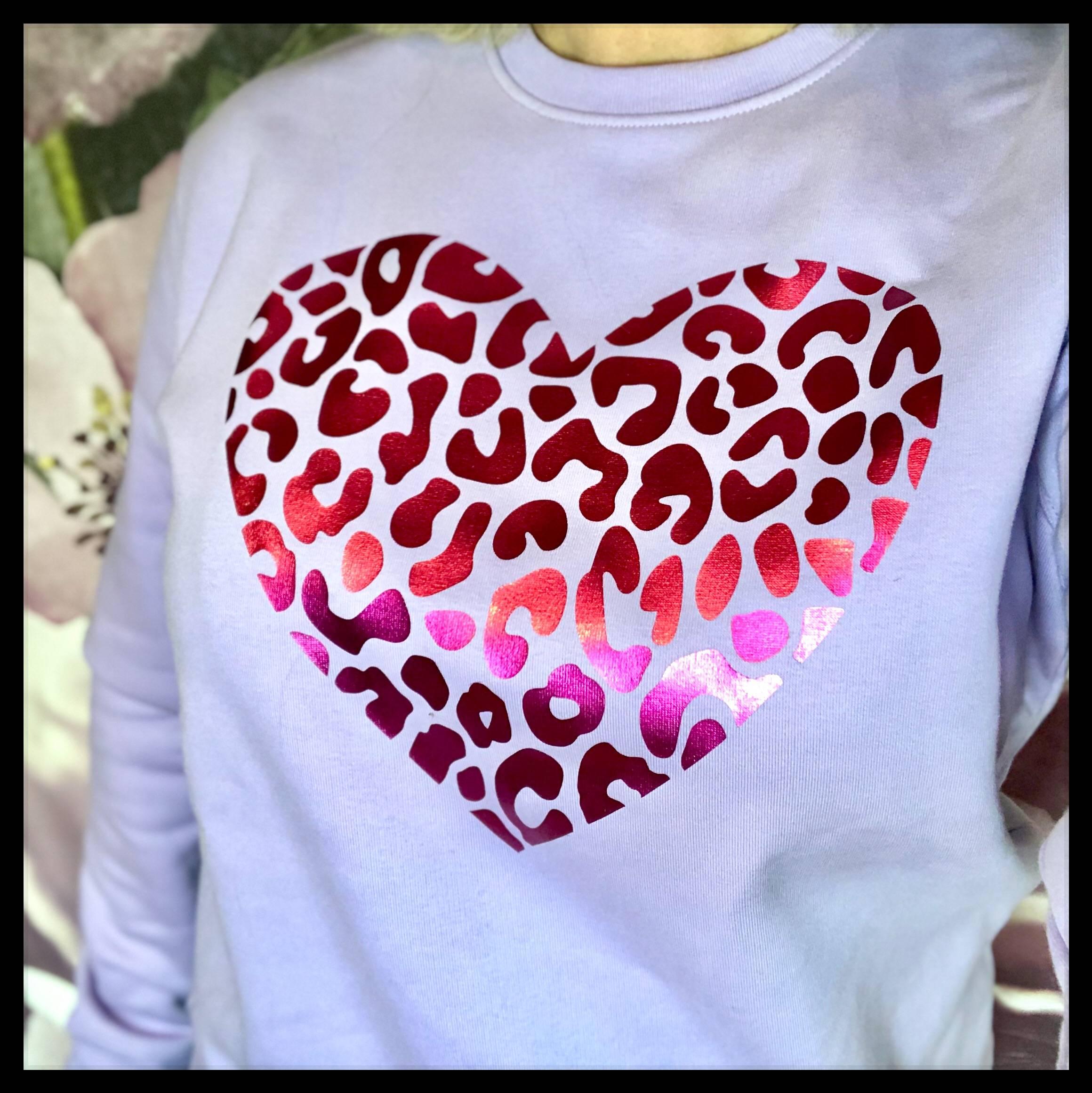 Lilac Leopard Heart Sweatshirt
