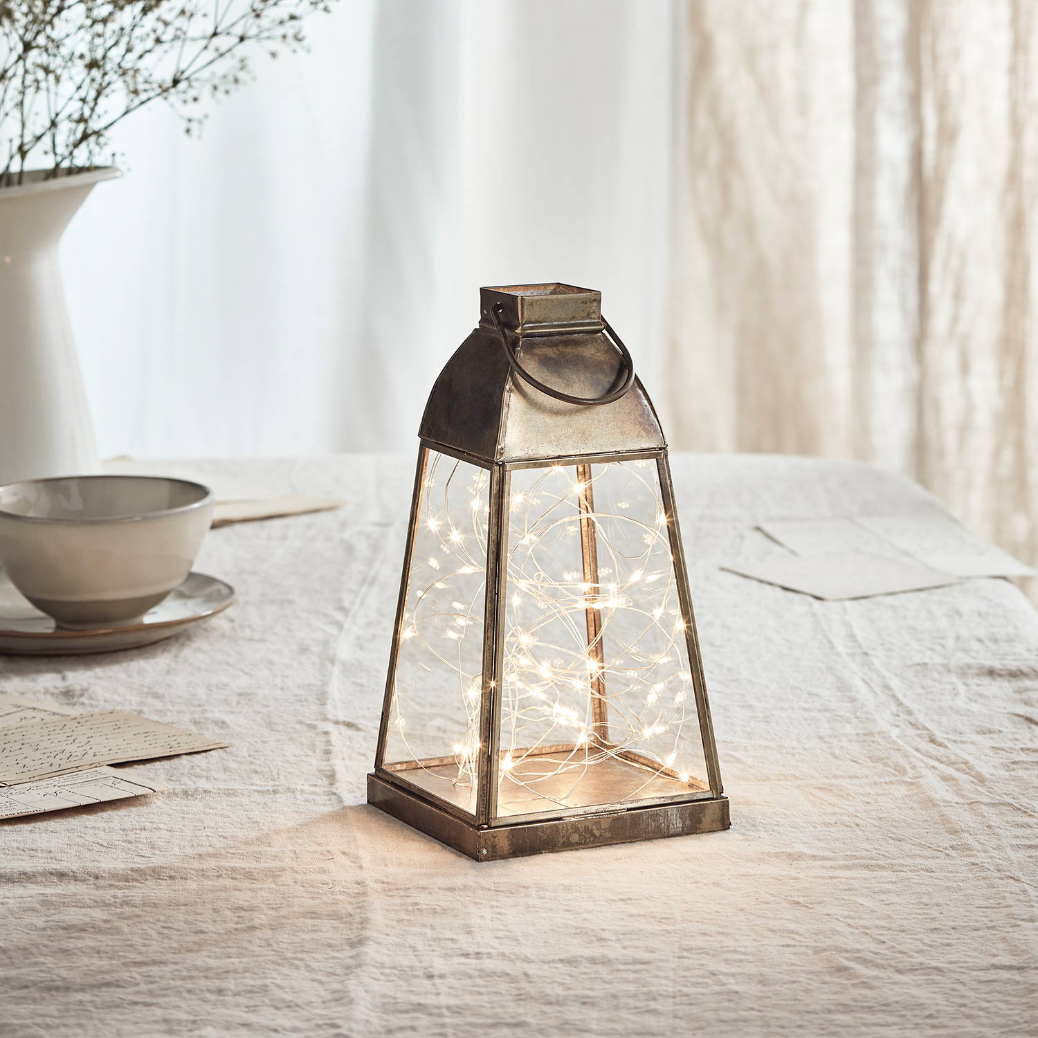 Otto Artisan Glass Lantern with Micro Lights