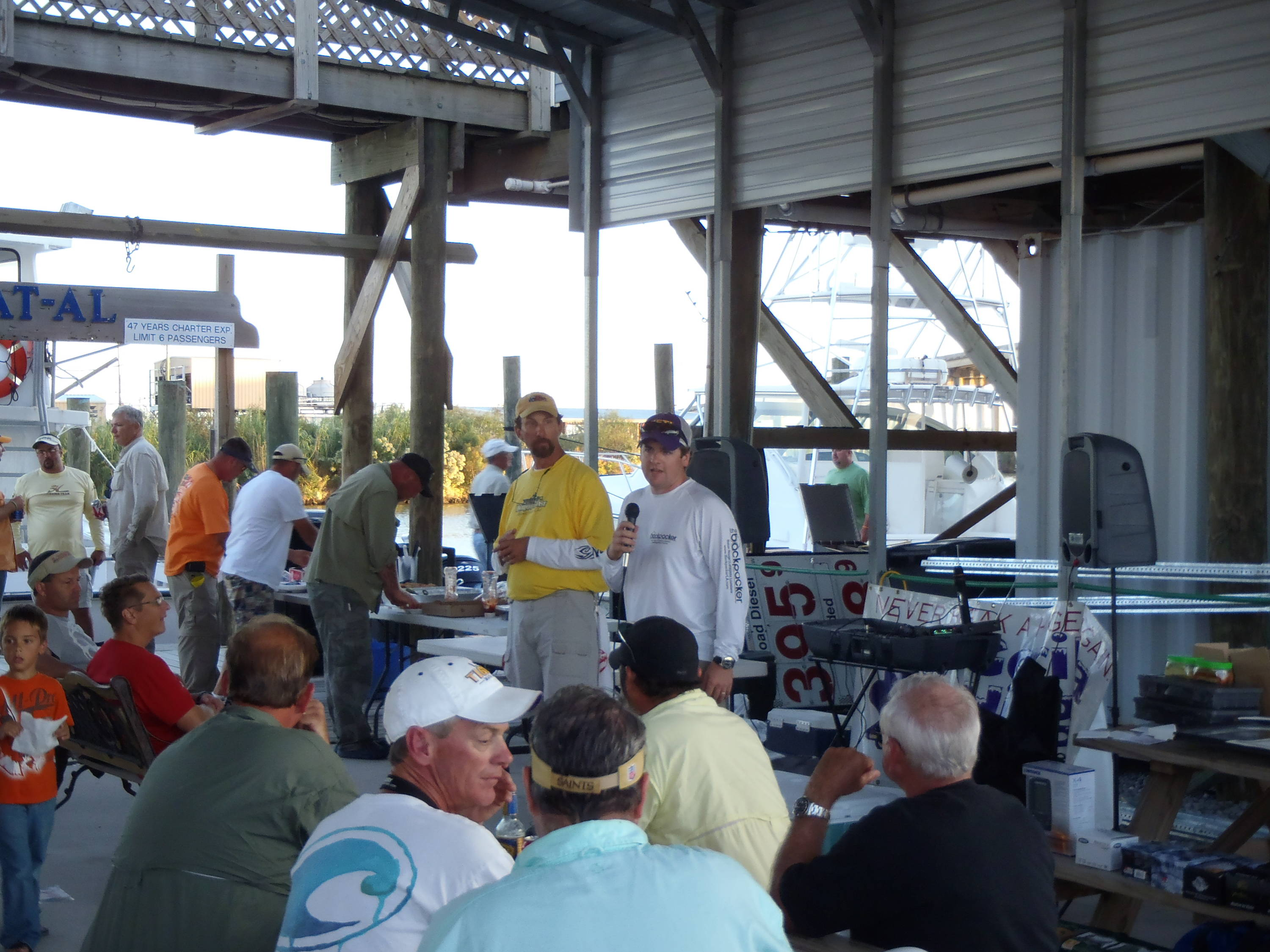 The Backpacker Owner, Michael Mathews, helps announce the results of Fall N Tide.