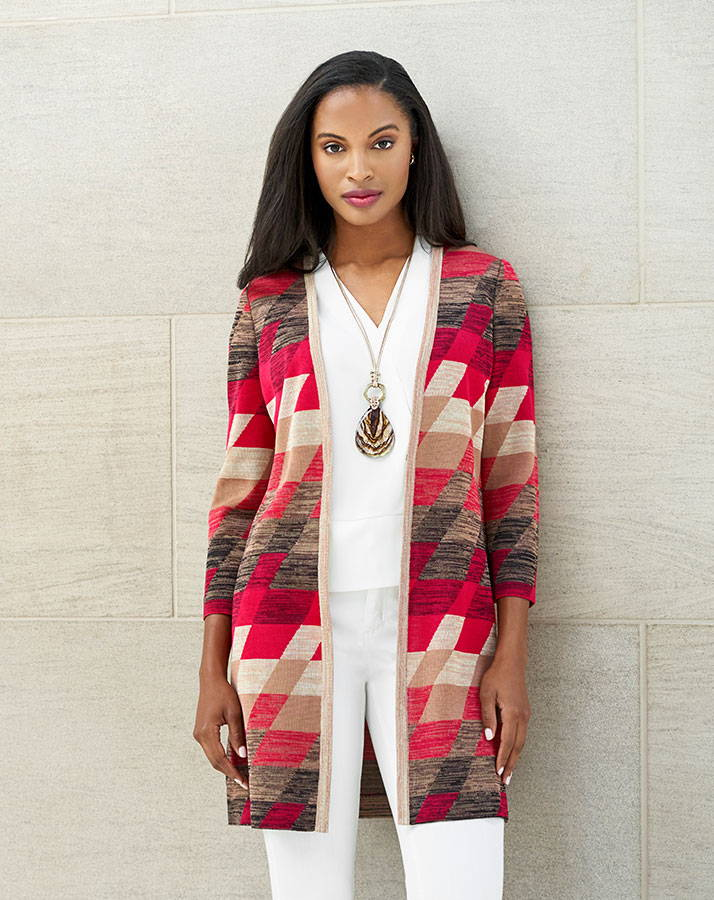 Geo Print Jacquard Knit Duster Paired with the Short Sleeve V-Neck Crepe de Chine Blouse and White Pants