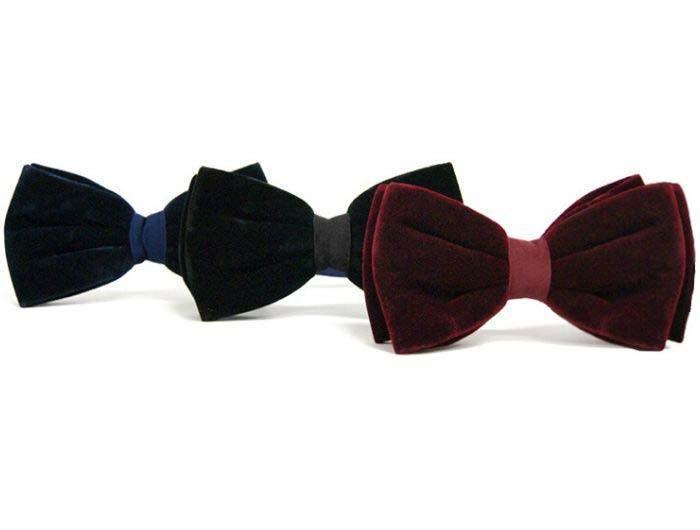 Set of 3 velvet bow ties in navy, gray and burgundy