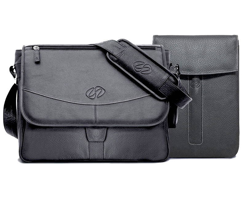 classic black leather shoulder bag and ipad pro 12.9 sleeve