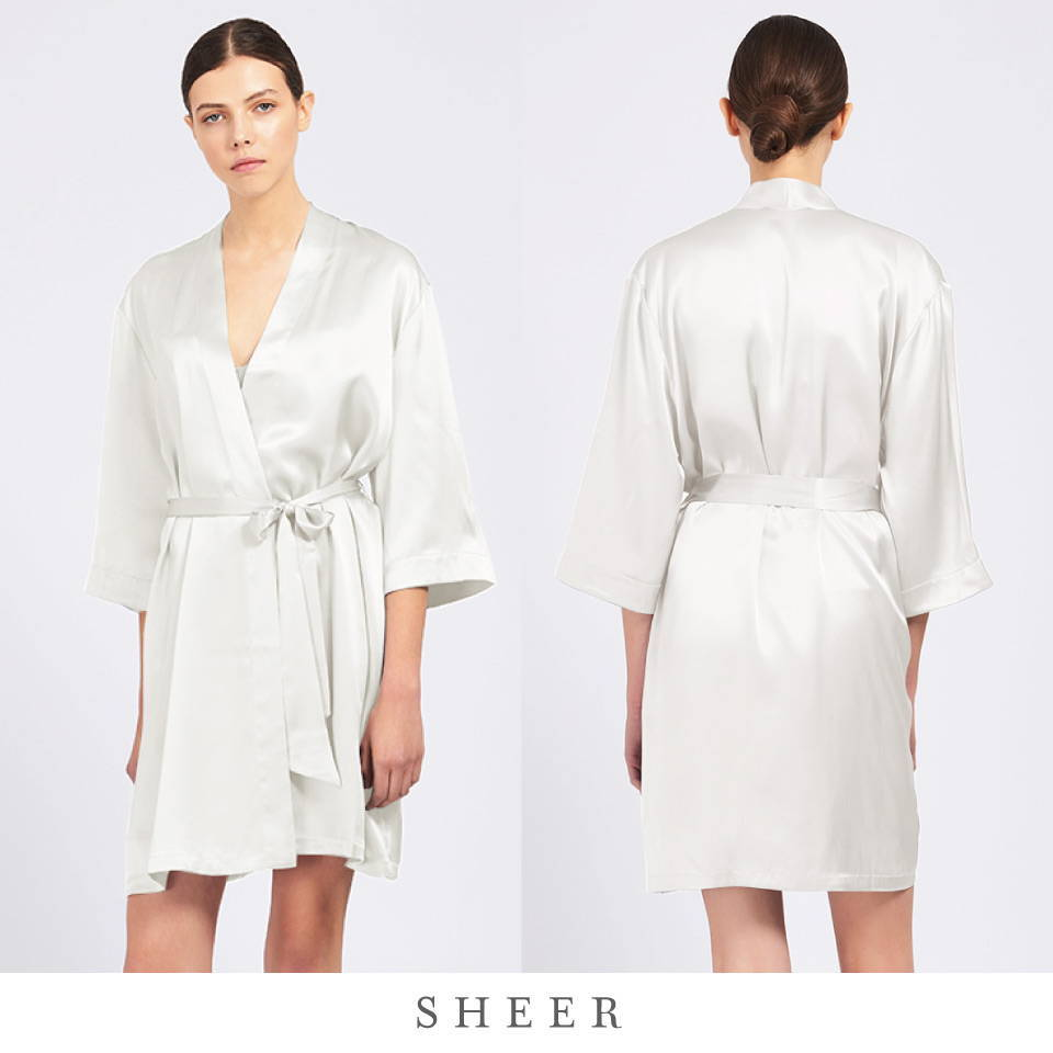 Fine Finishes Silk Wrap Robe by Ginia in Ivory