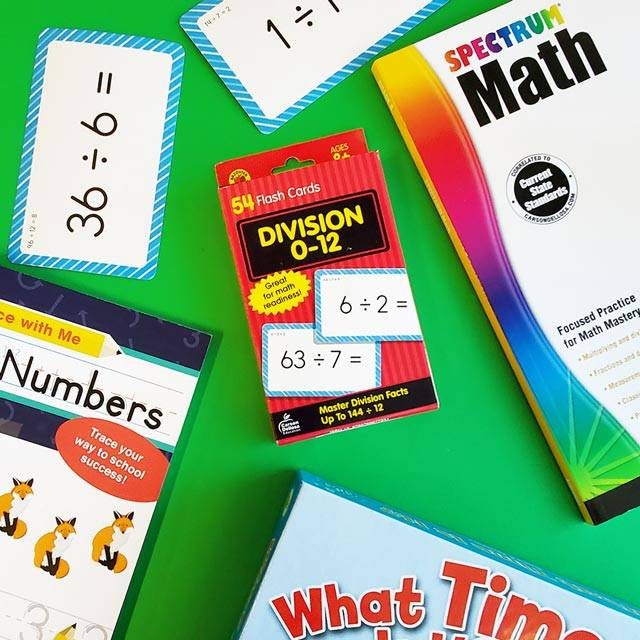 Math workbooks and flashcards that will help encourage learning at home