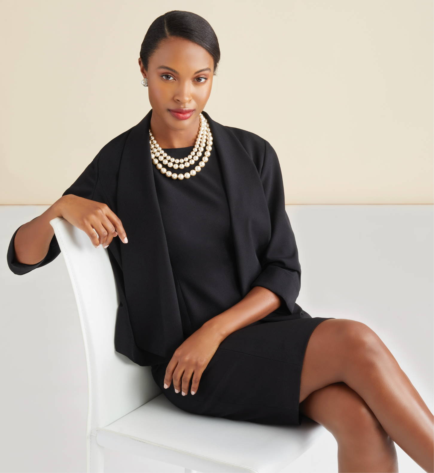 Draped Open-Front Jacket and Tailored Sheath Dress in Black