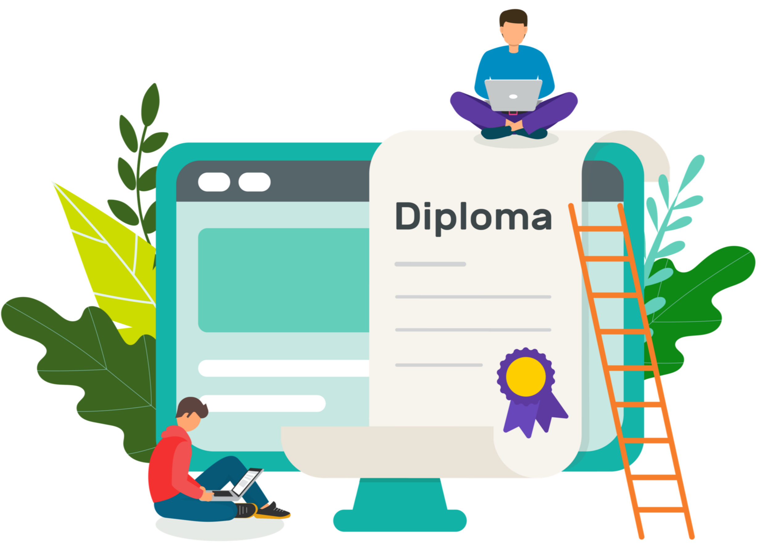 Illustration of students studying for their Diploma