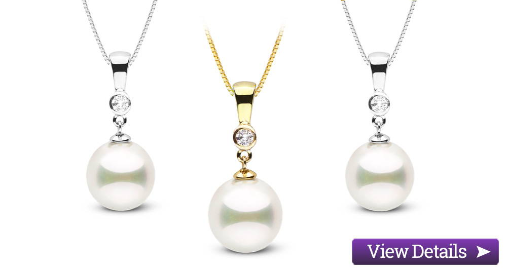 Akoya Pearl Jewelry Styles: Diamond Bezel Pearl Pendants