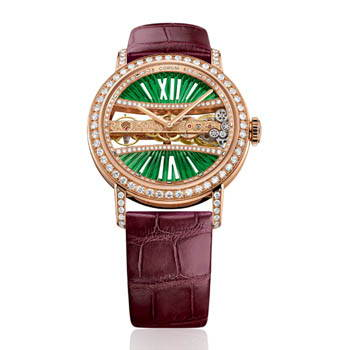 Rose gold and diamond watch with green accents and maroon wristband