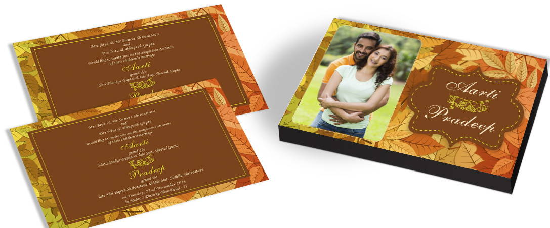 Marriage Invitation with Photo for Leaves theme