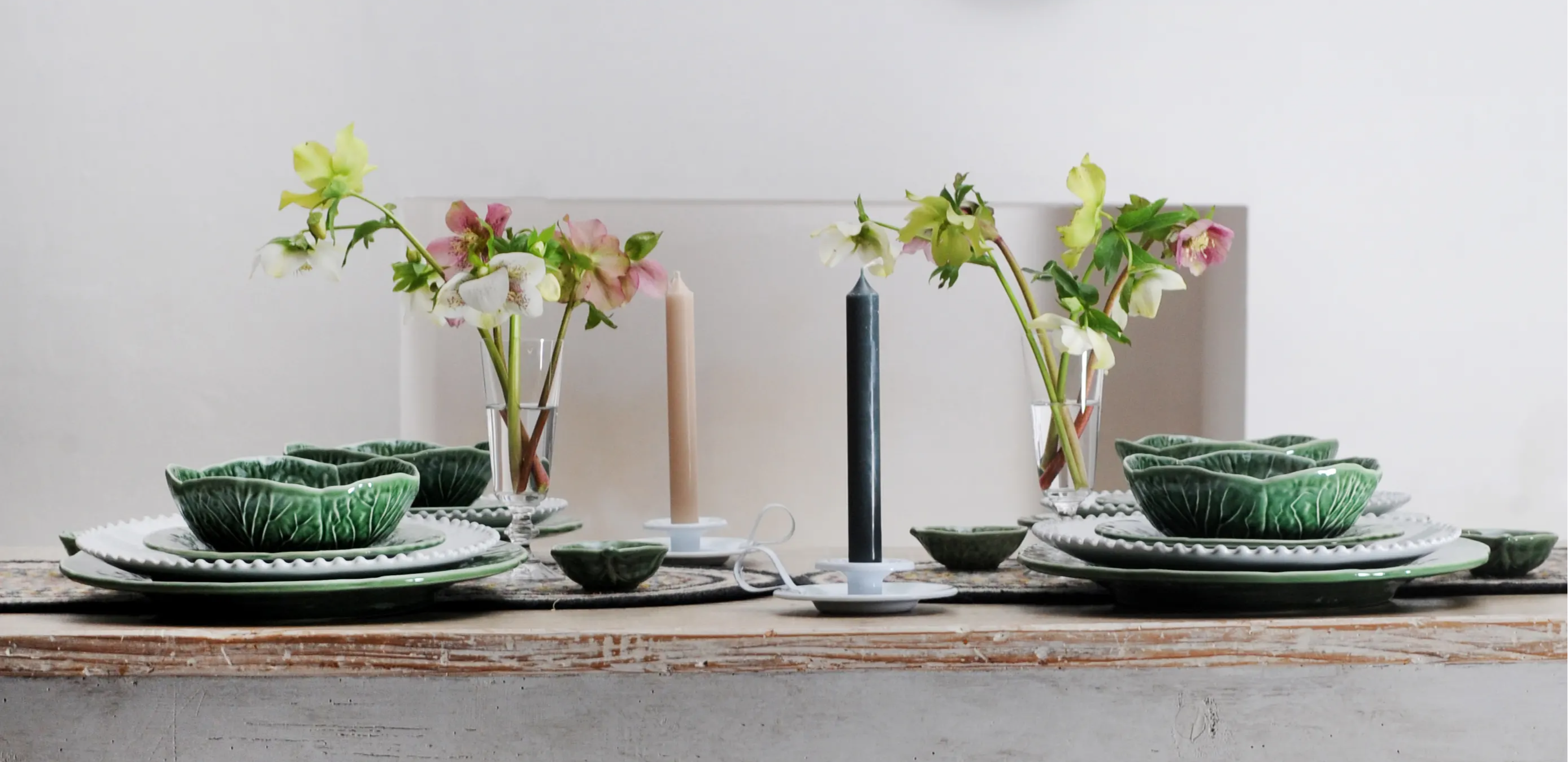 A table laid with Bordallo Cabbage Tableware