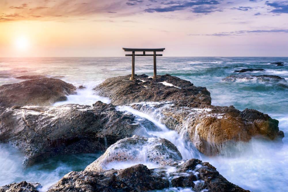 The iconic torii gate of Oarai Isosaki Jinja in Ibaraki, Japan at sunrise