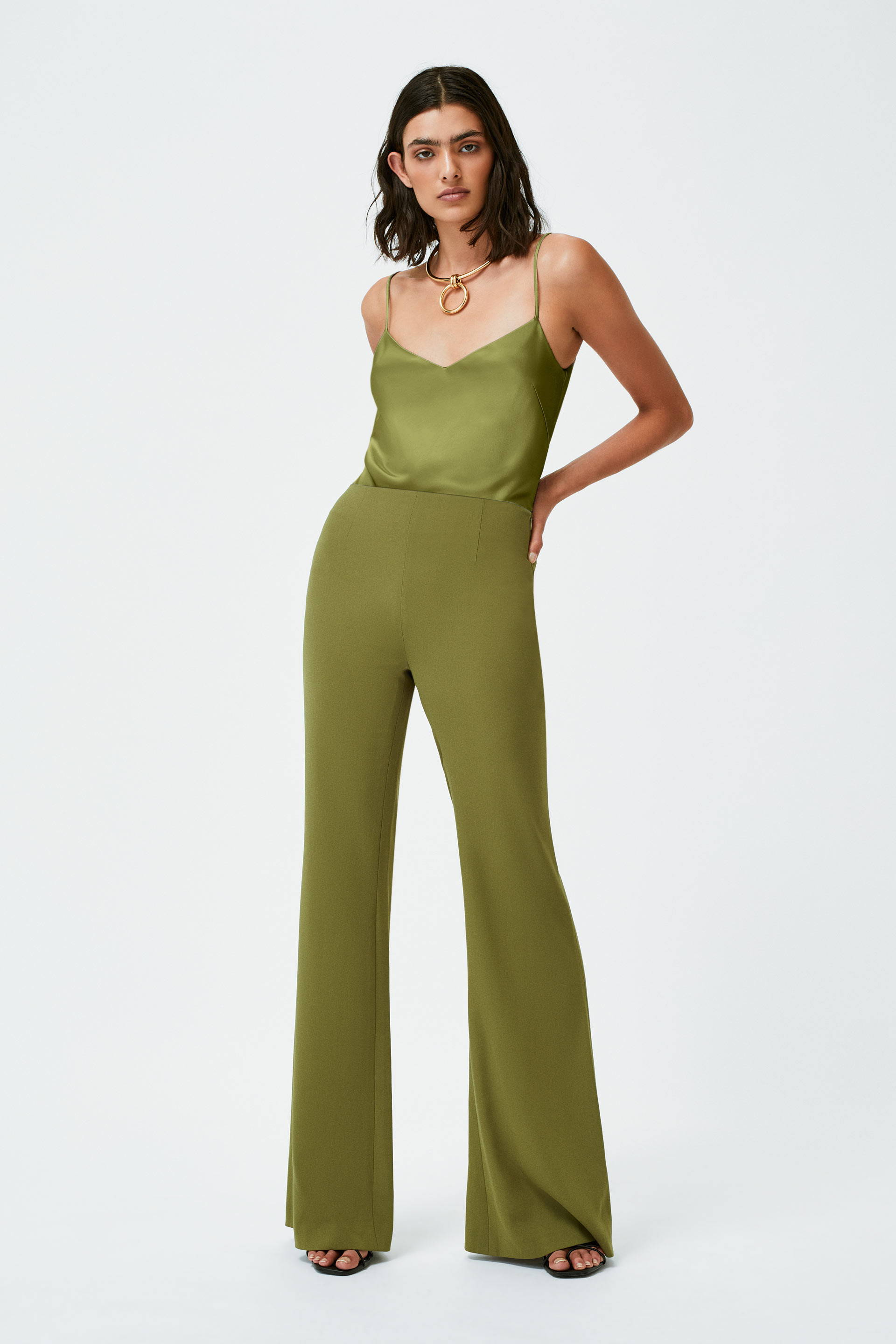 Galvan London Matte Satin Back Crepe Kakhi Green Trousers