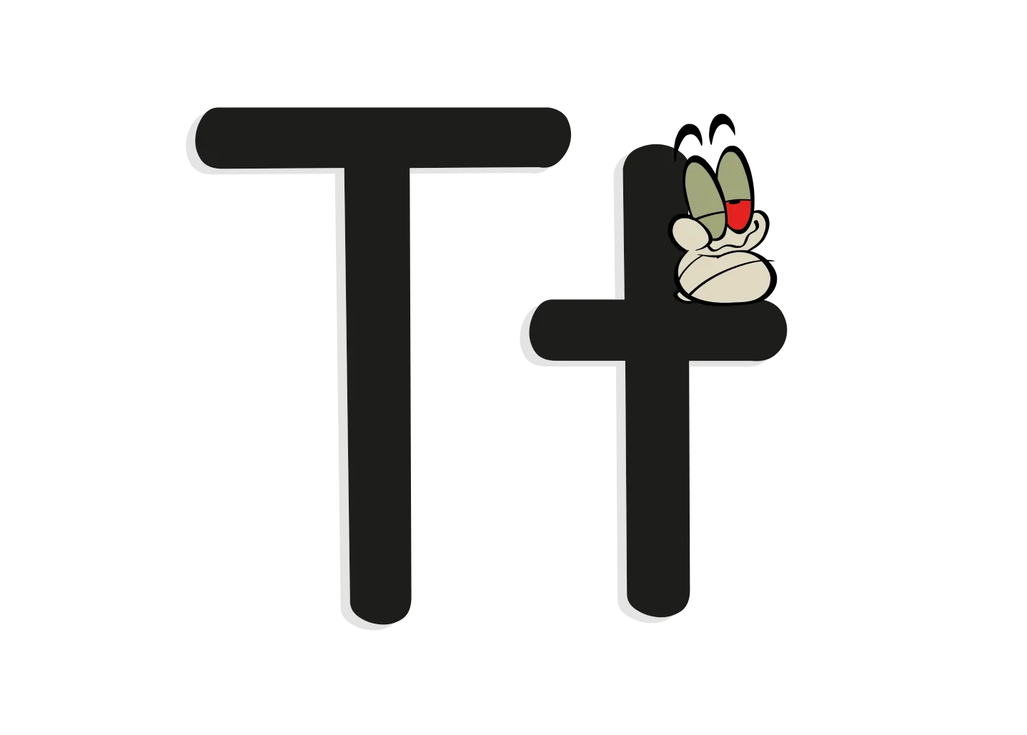 The letter T with an illustrated worm