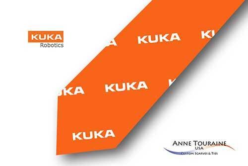 Repeated-logo-custom-ties-bow-ties-design-style-orange