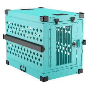 size x large 450 collapsible impact dog crate teal color