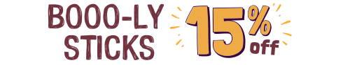 Orange and purple text: BOOLY STICKS 15% Off!