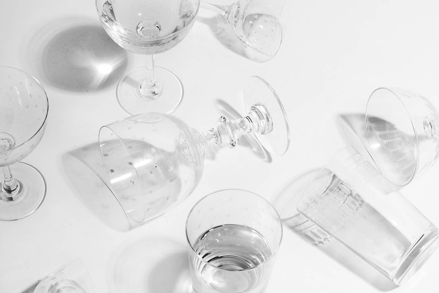 A mixed black and white image of The Vintage List glasses