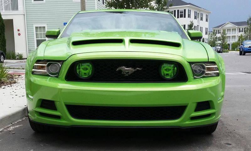 Ford Mustang Green Lamin-x fog light film covers